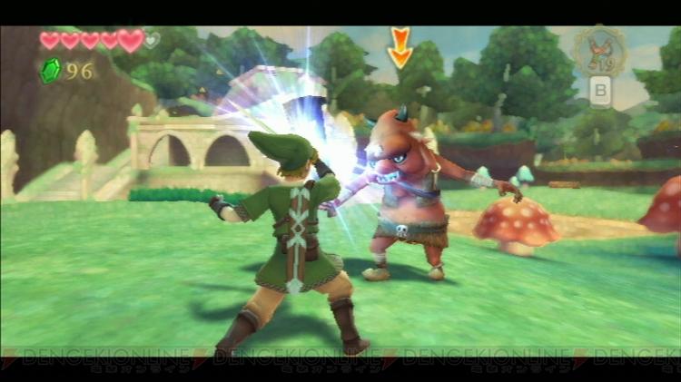 Link lutando com um Bokoblin na (oque parece ser) Forest Area.