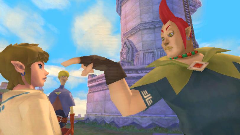 Groose, o rival de Link, que tem uma queda por Zelda. Ele faz um gesto meio suspeito para Link...