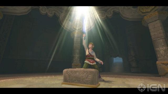 Link tirando a Skyward Sword do seu pedestal. É estranho uma cena como essa aparecer no começo do jogo.