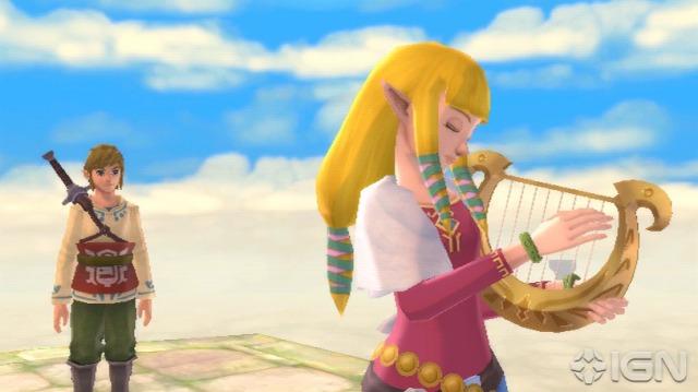 Parece que a Zelda está tentando impressionar Link tocando sua Harpa... :I