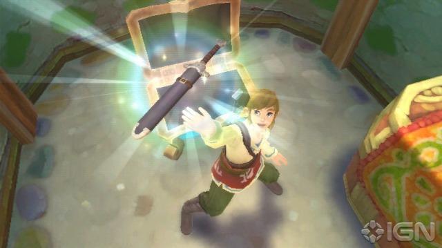 Link ganhando a Skyward (?) Sword. Eu acho que no começo do jogo ele ganha apenas uma espada, e depois a Fi entra nela.